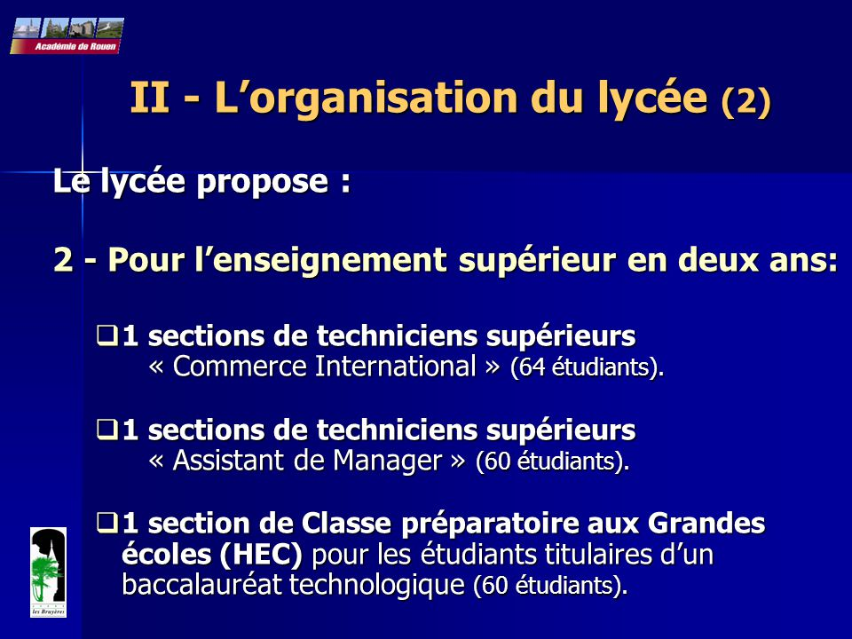 II - L'organisation du lycée (2)