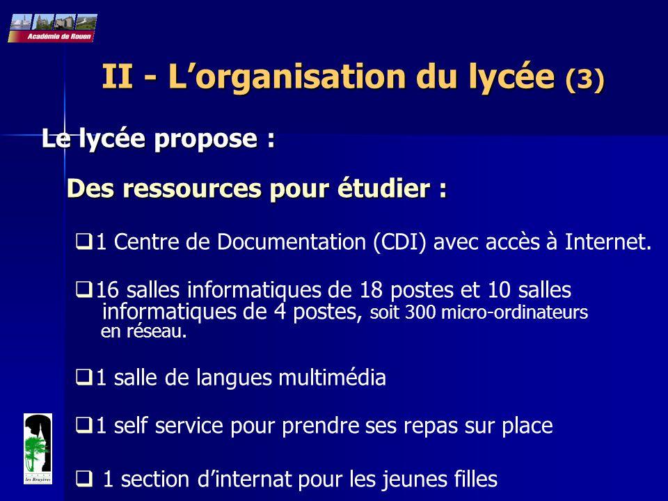 II - L'organisation du lycée (3)