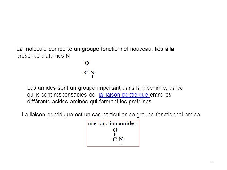 La molécule comporte un groupe fonctionnel nouveau, liés à la présence d atomes N