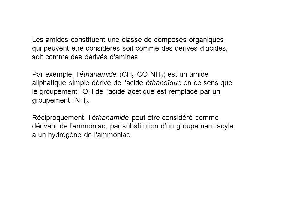 Les amides constituent une classe de composés organiques qui peuvent être considérés soit comme des dérivés d'acides, soit comme des dérivés d'amines.