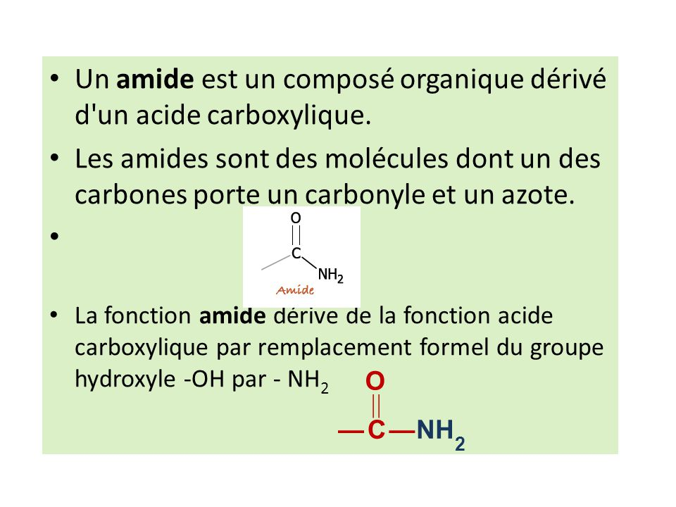 Un amide est un composé organique dérivé d un acide carboxylique.