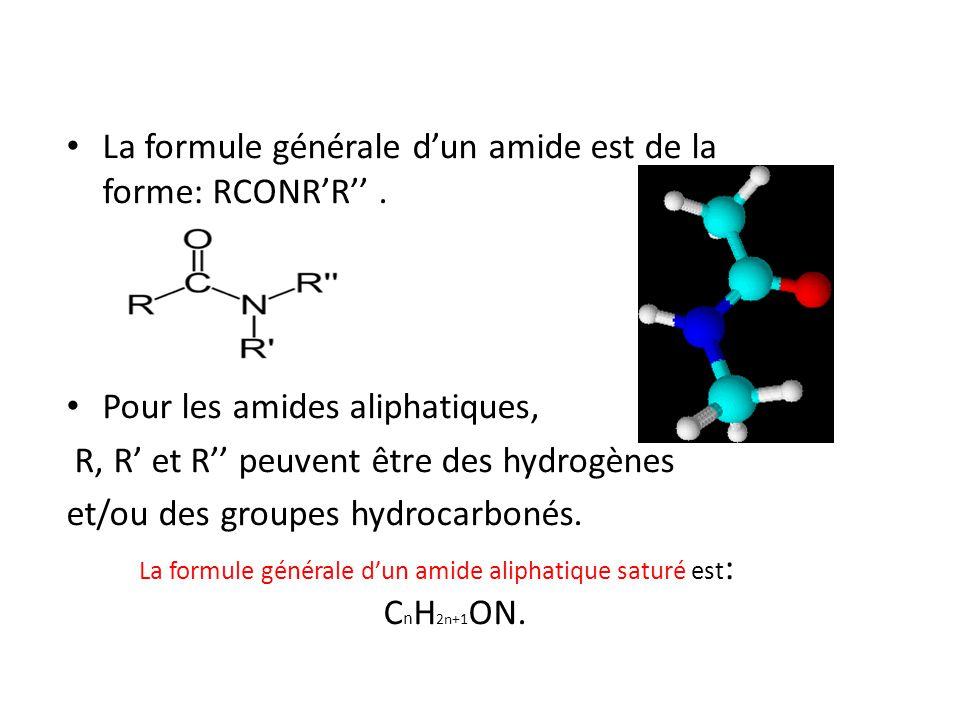 La formule générale d'un amide aliphatique saturé est: CnH2n+1ON.