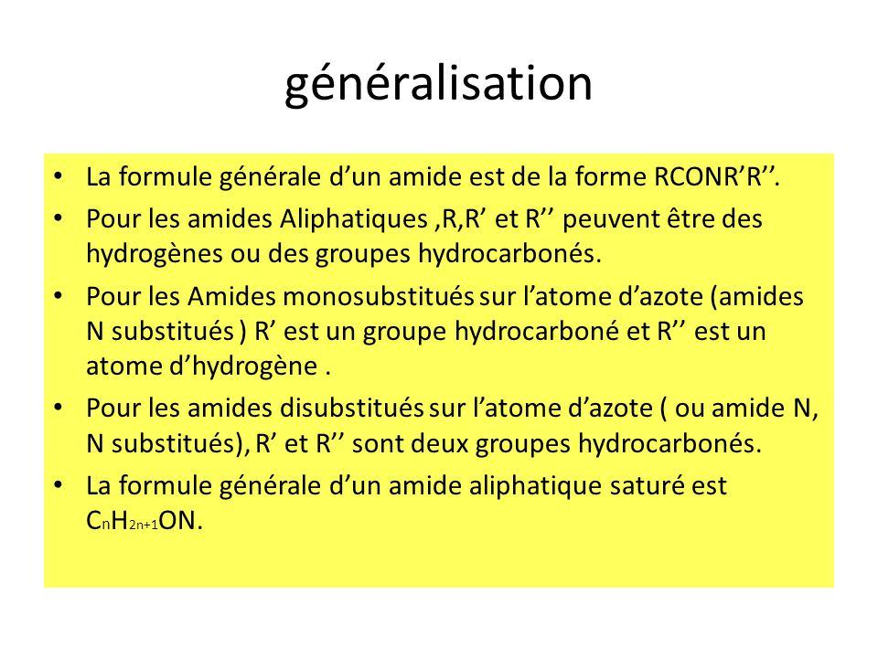 généralisation La formule générale d'un amide est de la forme RCONR'R''.