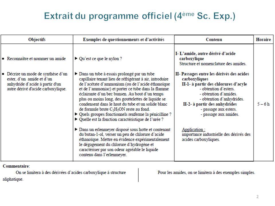 Extrait du programme officiel (4ème Sc. Exp.)