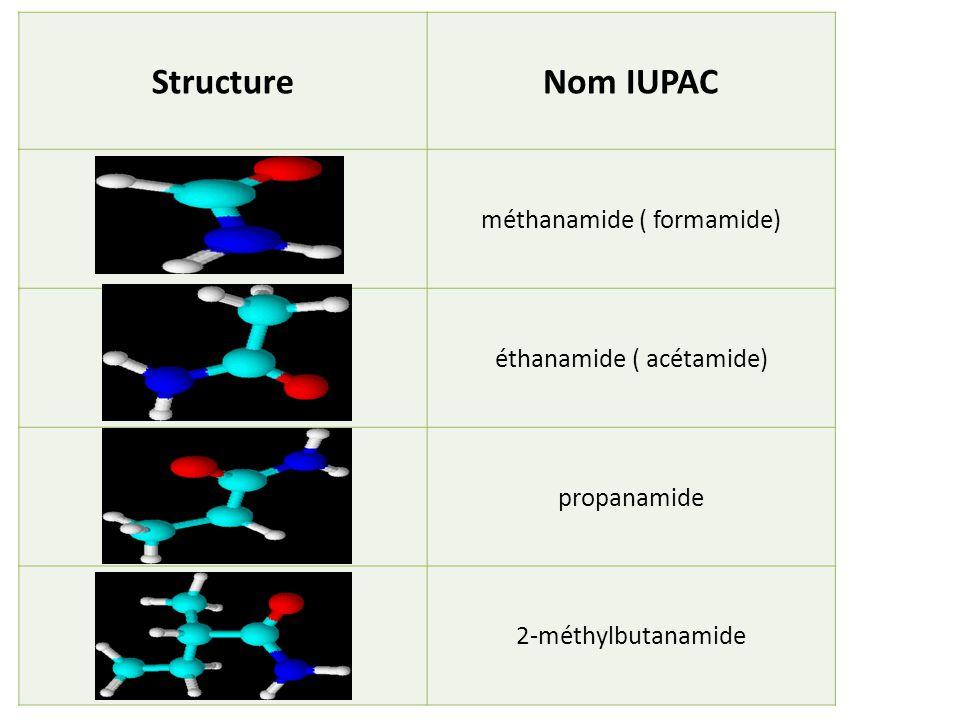 Structure Nom IUPAC méthanamide ( formamide) éthanamide ( acétamide)