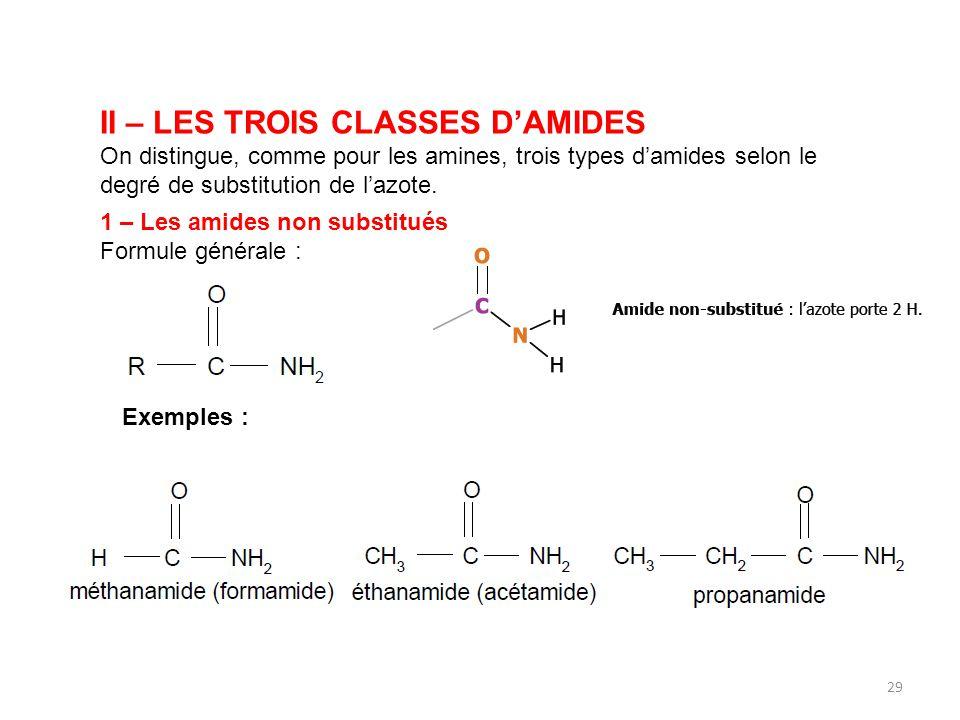II – LES TROIS CLASSES D'AMIDES