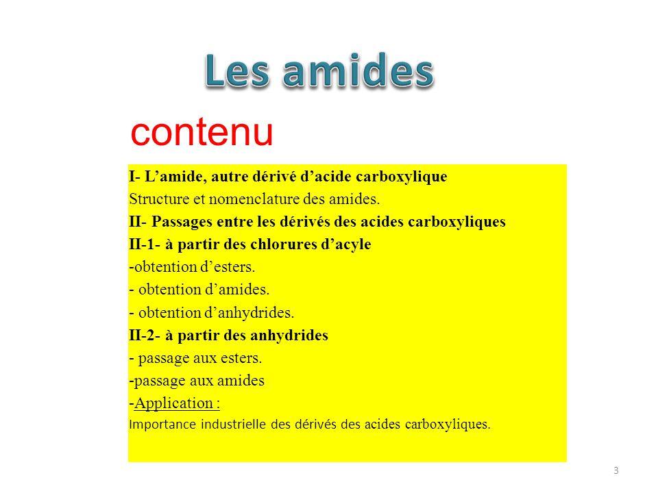 Les amides contenu I- L'amide, autre dérivé d'acide carboxylique