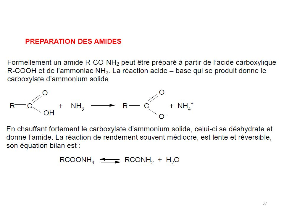 PREPARATION DES AMIDES