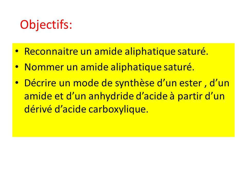 Objectifs: Reconnaitre un amide aliphatique saturé.