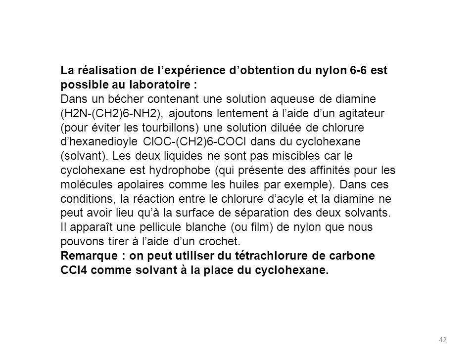 La réalisation de l'expérience d'obtention du nylon 6-6 est possible au laboratoire :