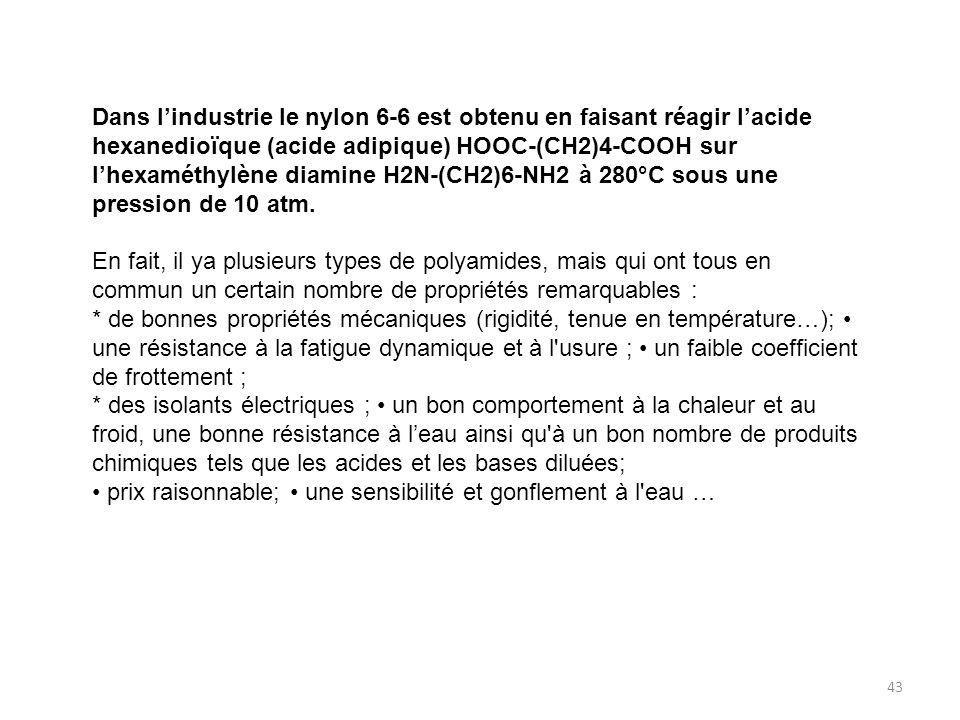 Dans l'industrie le nylon 6-6 est obtenu en faisant réagir l'acide hexanedioïque (acide adipique) HOOC-(CH2)4-COOH sur l'hexaméthylène diamine H2N-(CH2)6-NH2 à 280°C sous une pression de 10 atm.