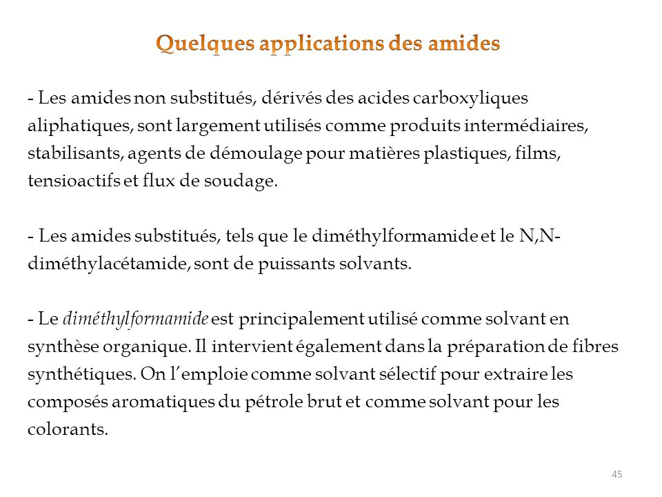 Quelques applications des amides