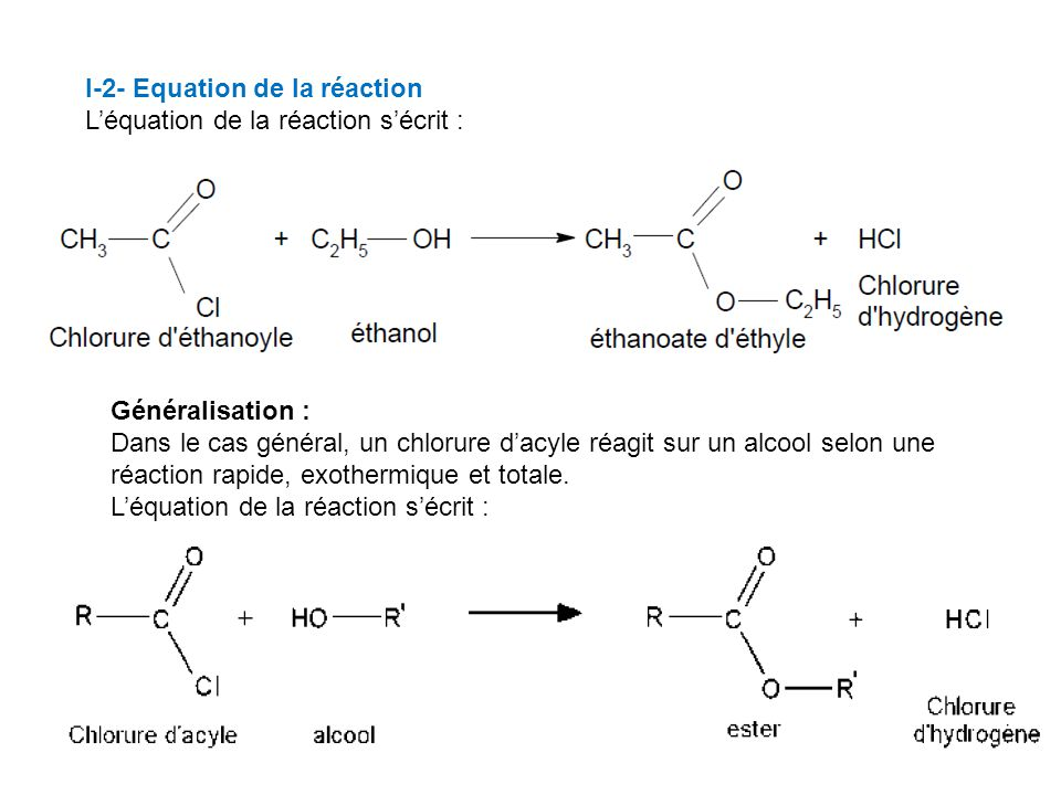 I-2- Equation de la réaction