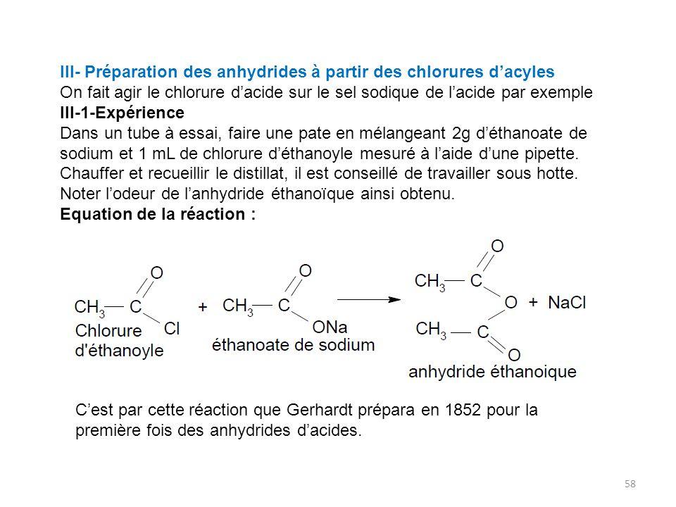 III- Préparation des anhydrides à partir des chlorures d'acyles