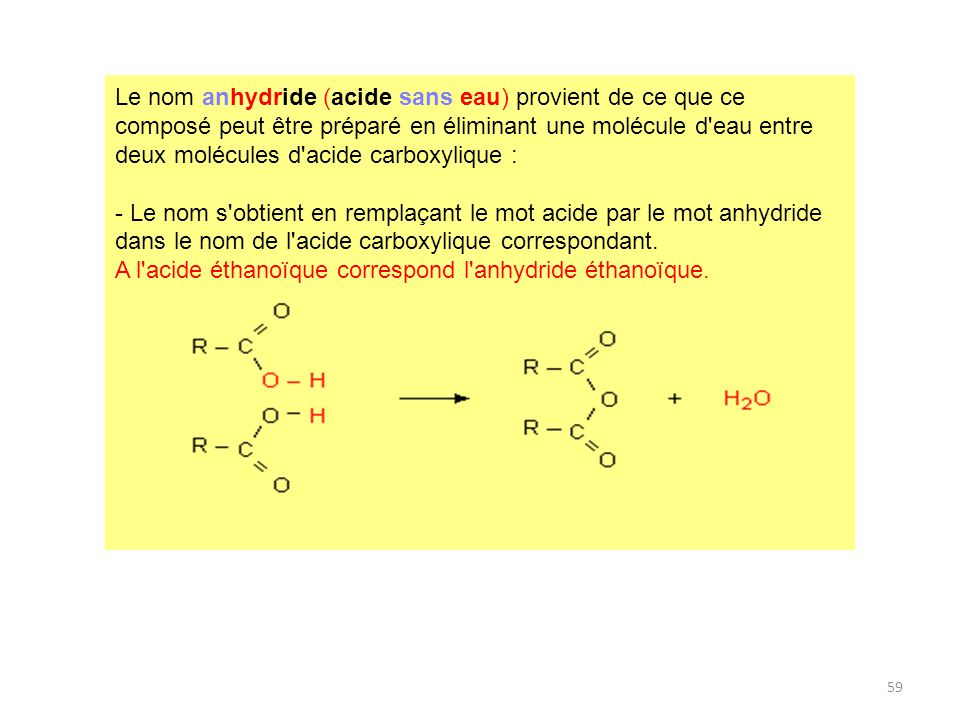Le nom anhydride (acide sans eau) provient de ce que ce composé peut être préparé en éliminant une molécule d eau entre deux molécules d acide carboxylique :