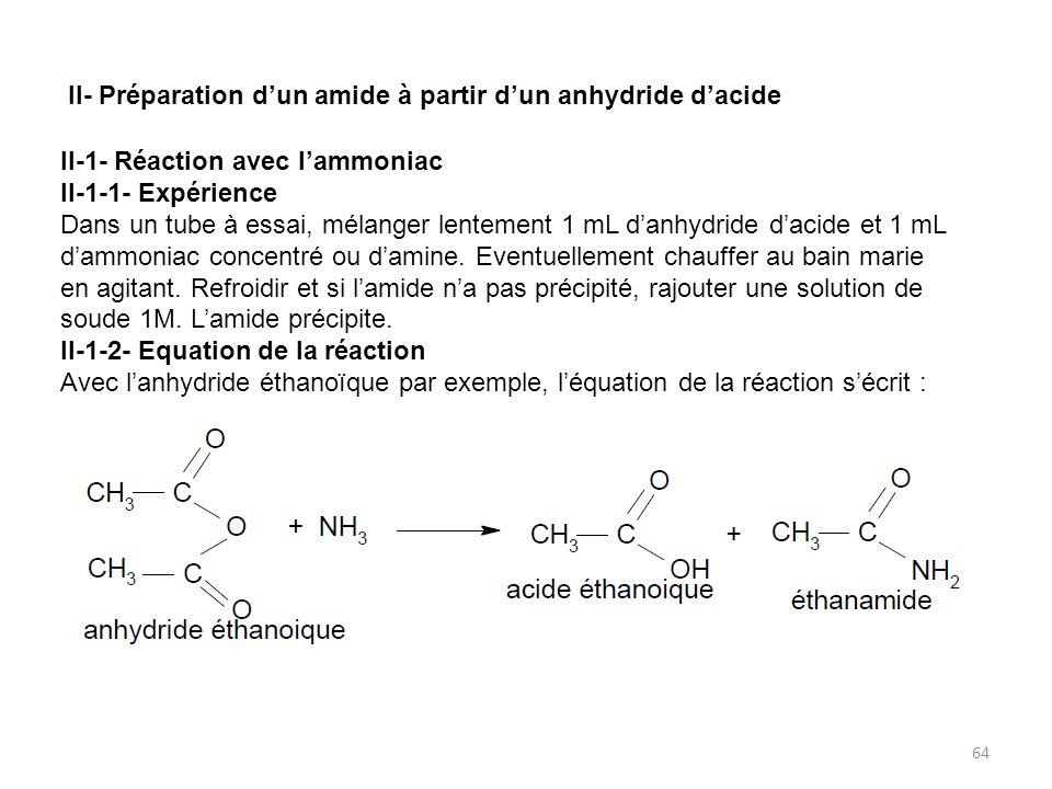 II- Préparation d'un amide à partir d'un anhydride d'acide