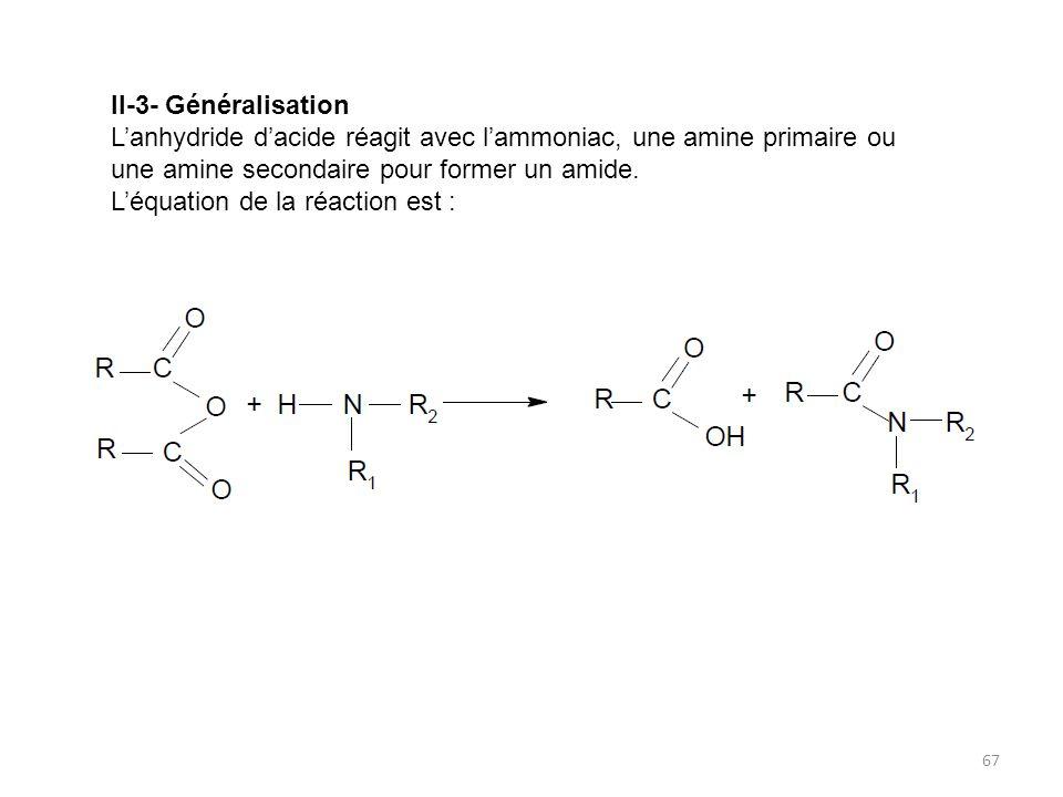 II-3- Généralisation L'anhydride d'acide réagit avec l'ammoniac, une amine primaire ou une amine secondaire pour former un amide.
