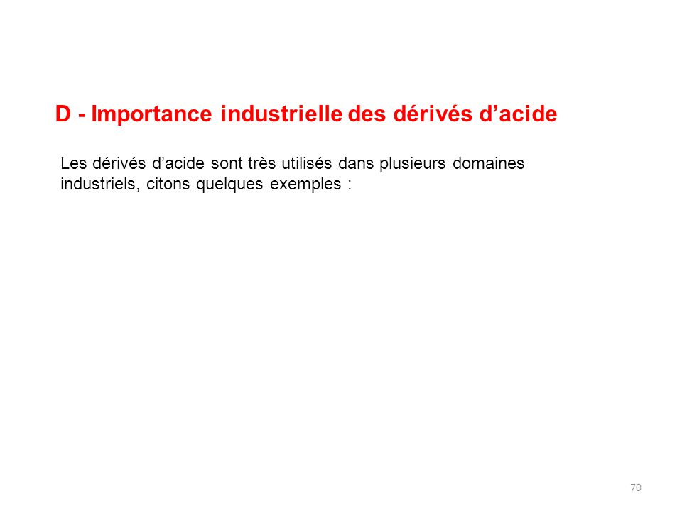 D - Importance industrielle des dérivés d'acide