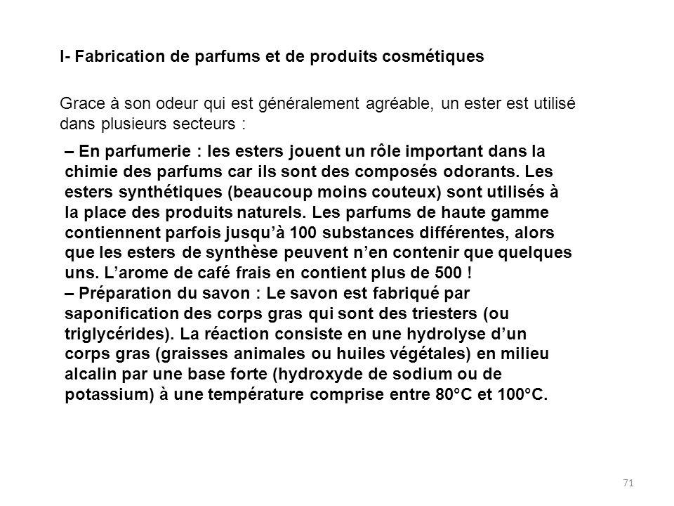 I- Fabrication de parfums et de produits cosmétiques