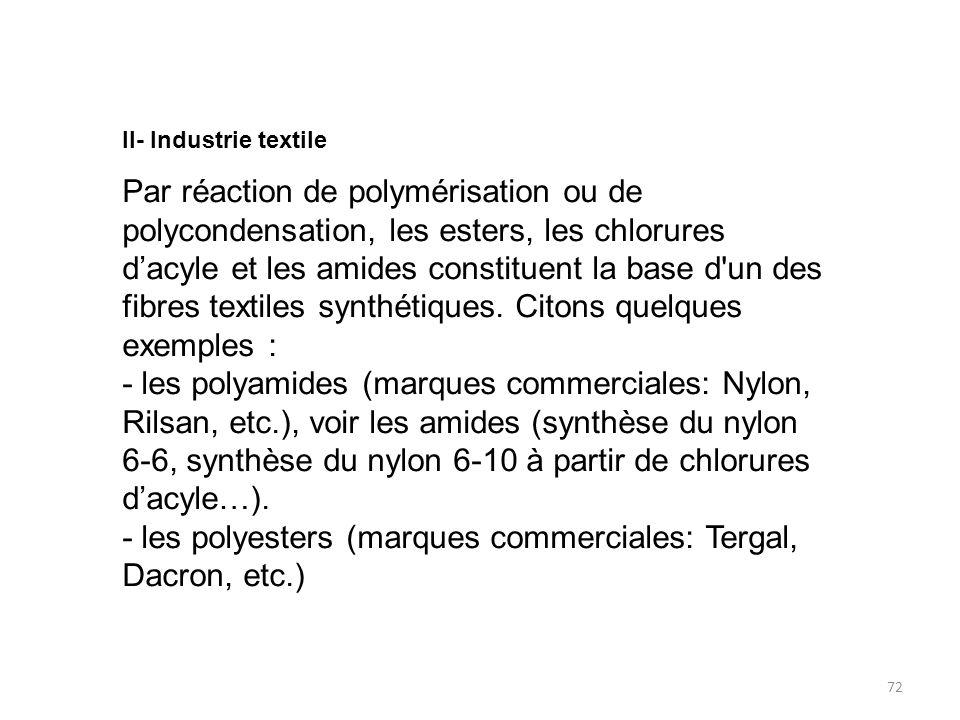 - les polyesters (marques commerciales: Tergal, Dacron, etc.)