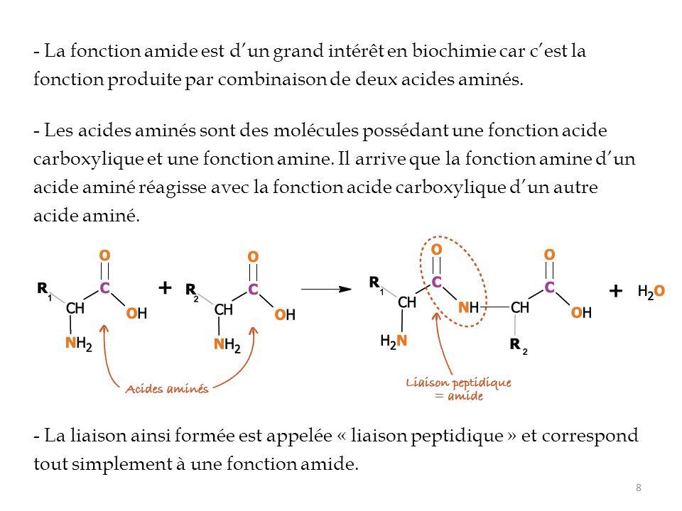 - La fonction amide est d'un grand intérêt en biochimie car c'est la fonction produite par combinaison de deux acides aminés.