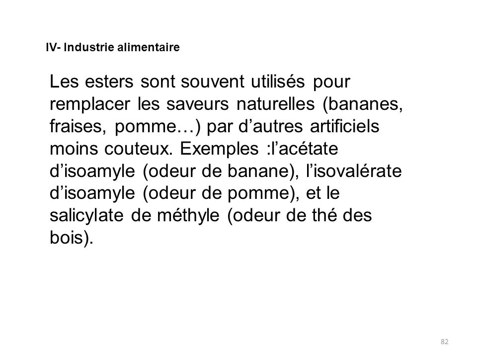 IV- Industrie alimentaire