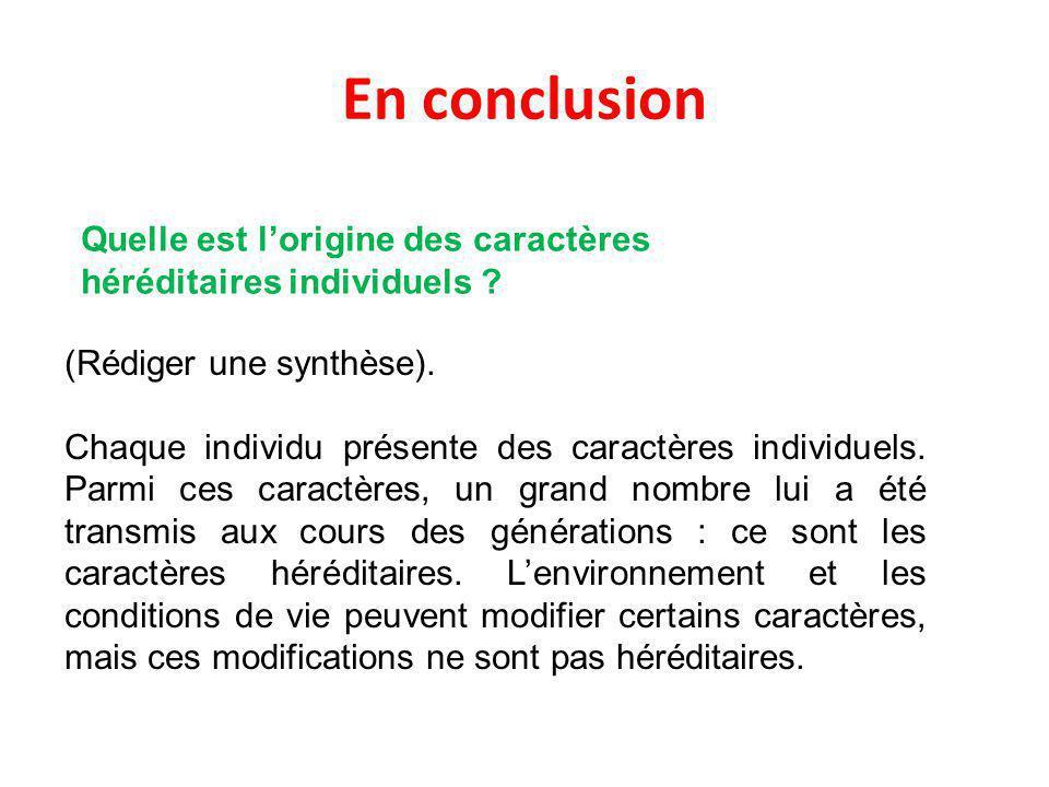 En conclusion Quelle est l'origine des caractères héréditaires individuels (Rédiger une synthèse).
