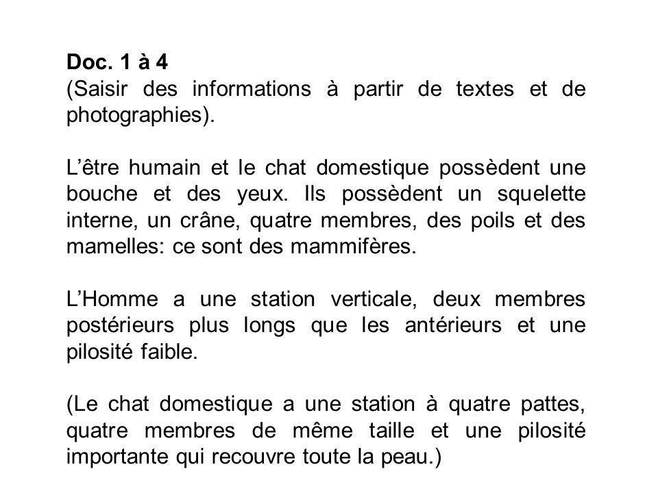 Doc. 1 à 4 (Saisir des informations à partir de textes et de photographies).