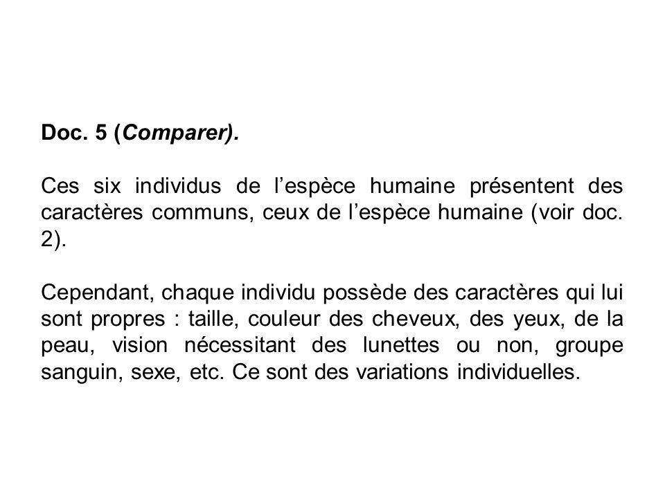 Doc. 5 (Comparer). Ces six individus de l'espèce humaine présentent des caractères communs, ceux de l'espèce humaine (voir doc. 2).