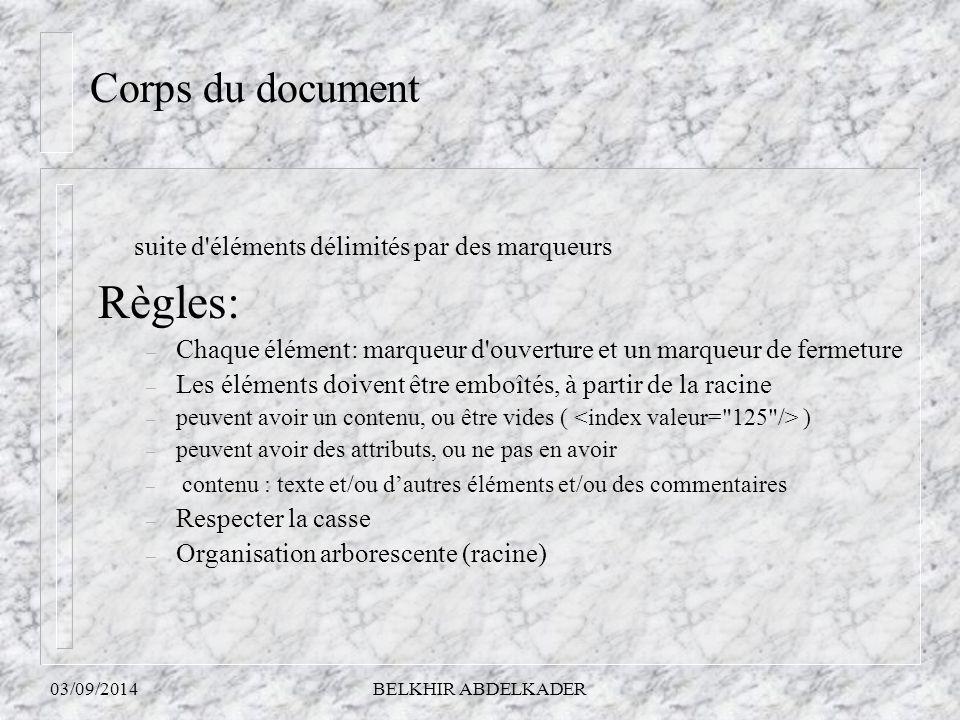 Règles: Corps du document suite d éléments délimités par des marqueurs