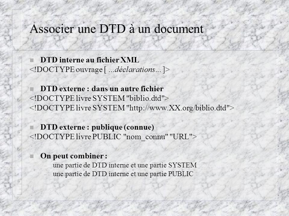 Associer une DTD à un document