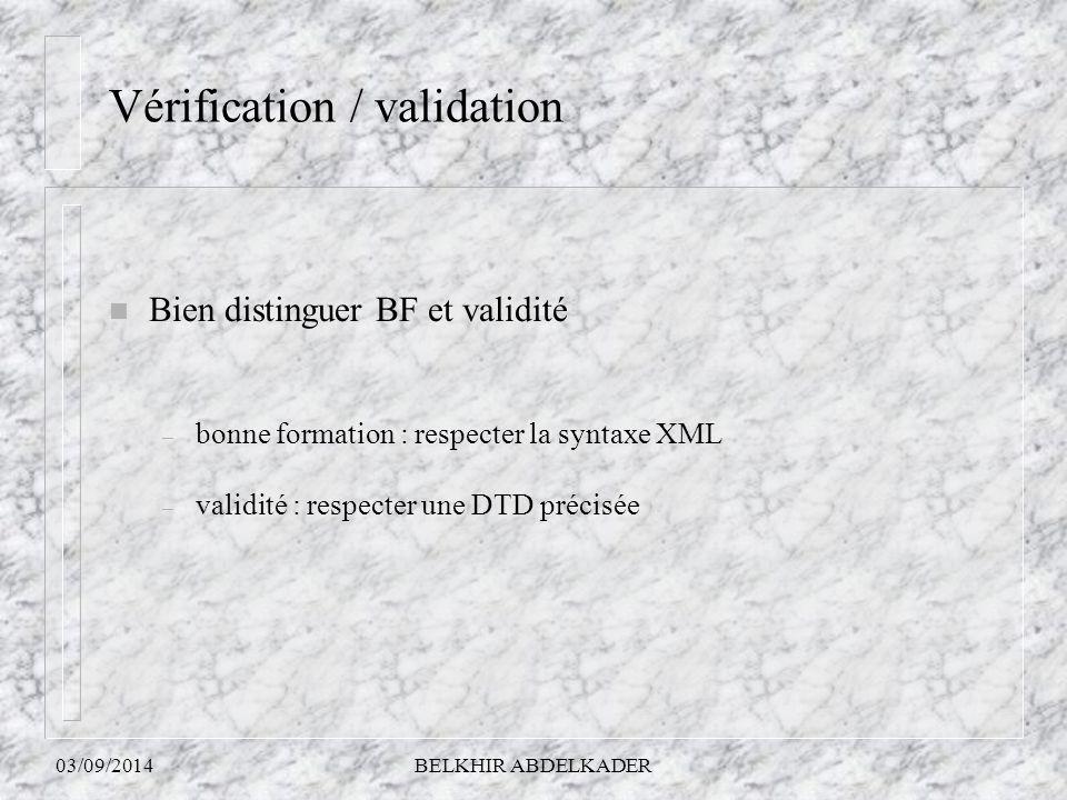 Vérification / validation