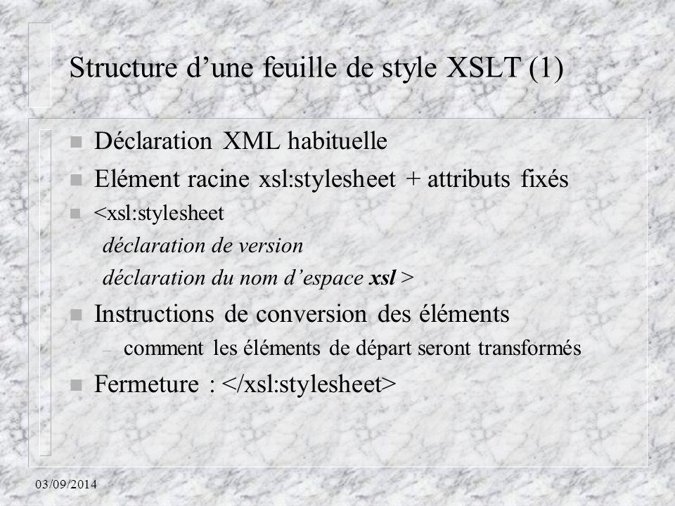 Structure d'une feuille de style XSLT (1)