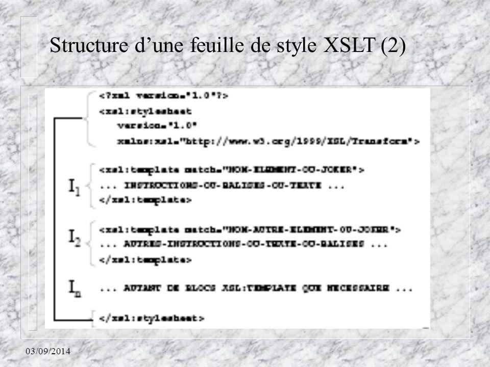 Structure d'une feuille de style XSLT (2)