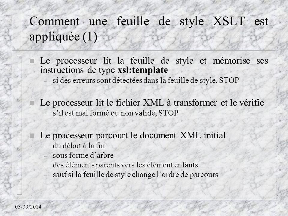 Comment une feuille de style XSLT est appliquée (1)
