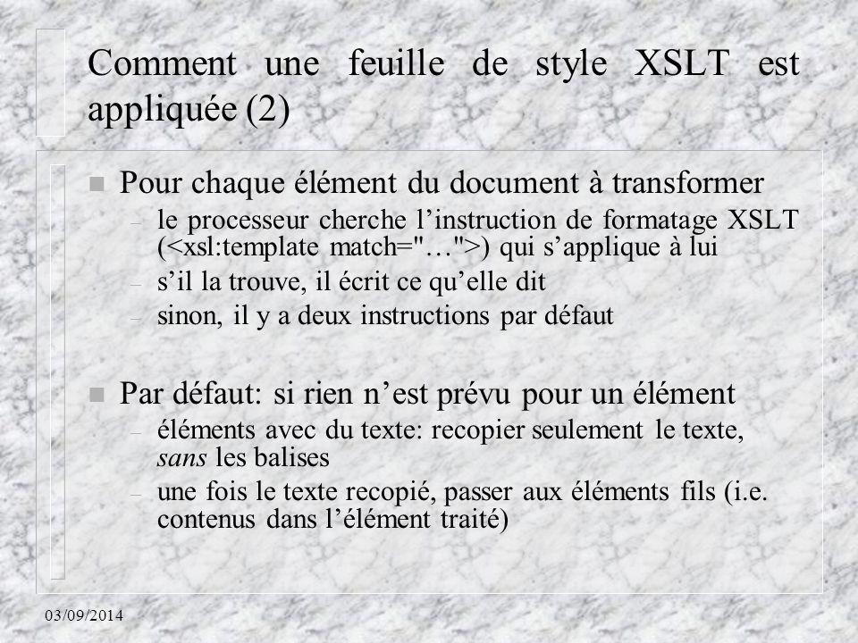 Comment une feuille de style XSLT est appliquée (2)