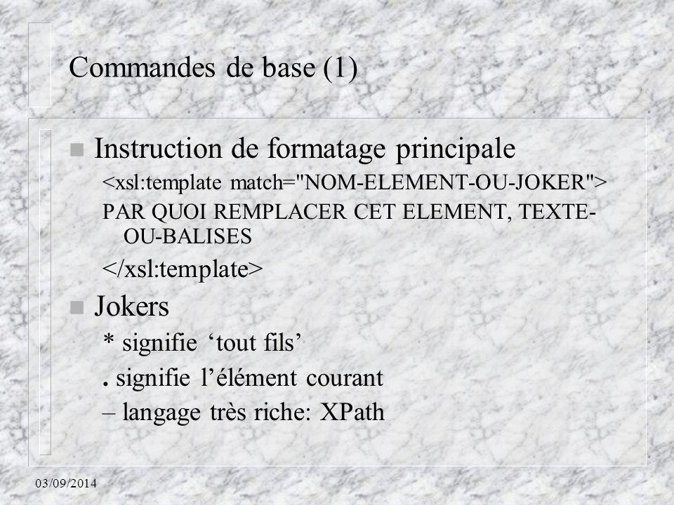 Instruction de formatage principale