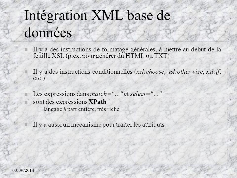 Intégration XML base de données
