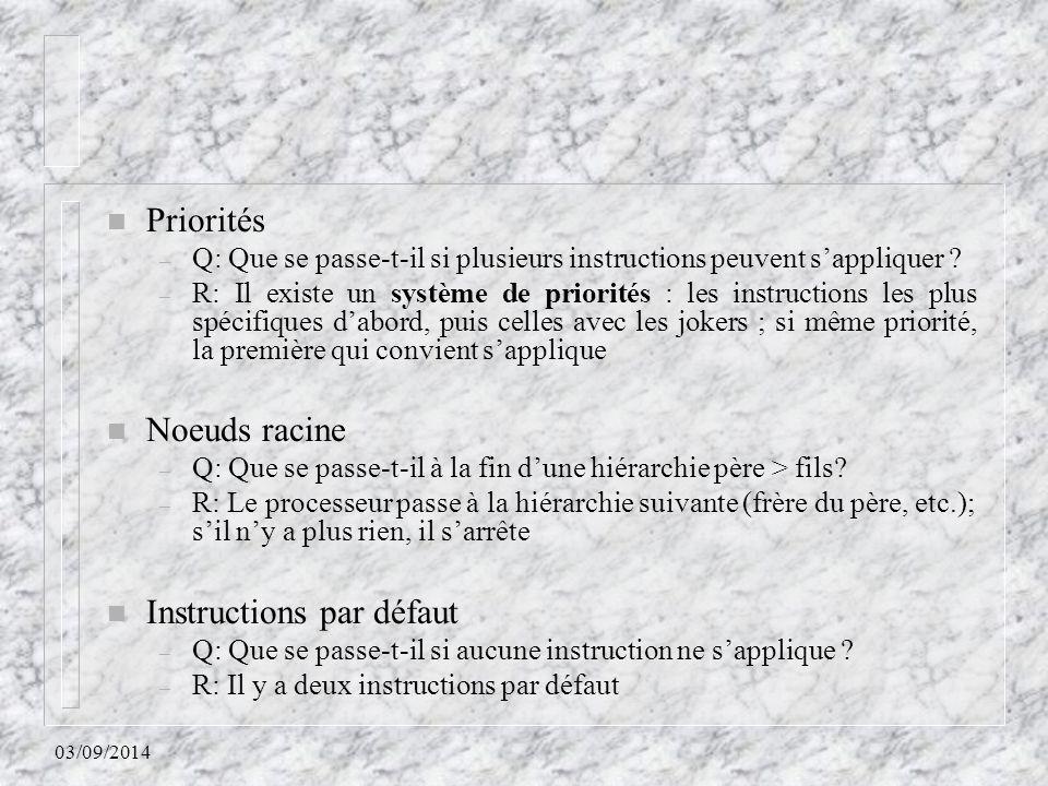 Instructions par défaut