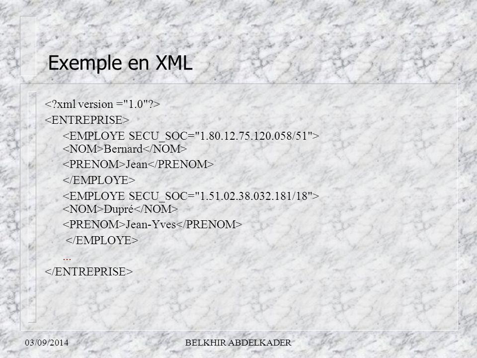 Exemple en XML < xml version = 1.0 > <ENTREPRISE>
