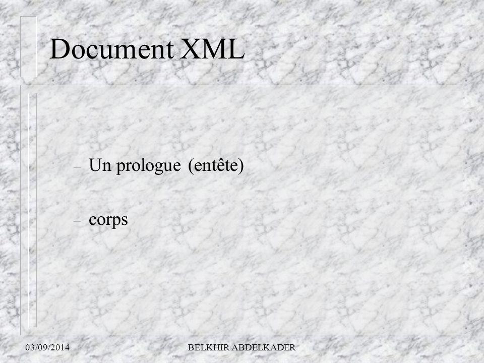 Document XML Un prologue (entête) corps 06/04/2017 BELKHIR ABDELKADER