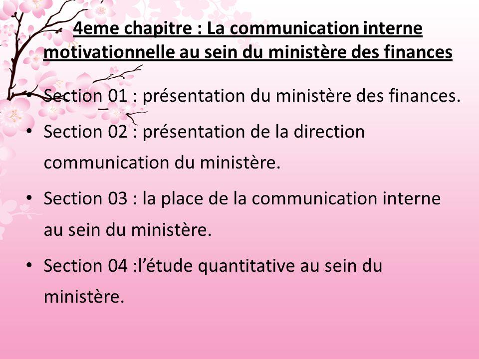 4eme chapitre : La communication interne motivationnelle au sein du ministère des finances
