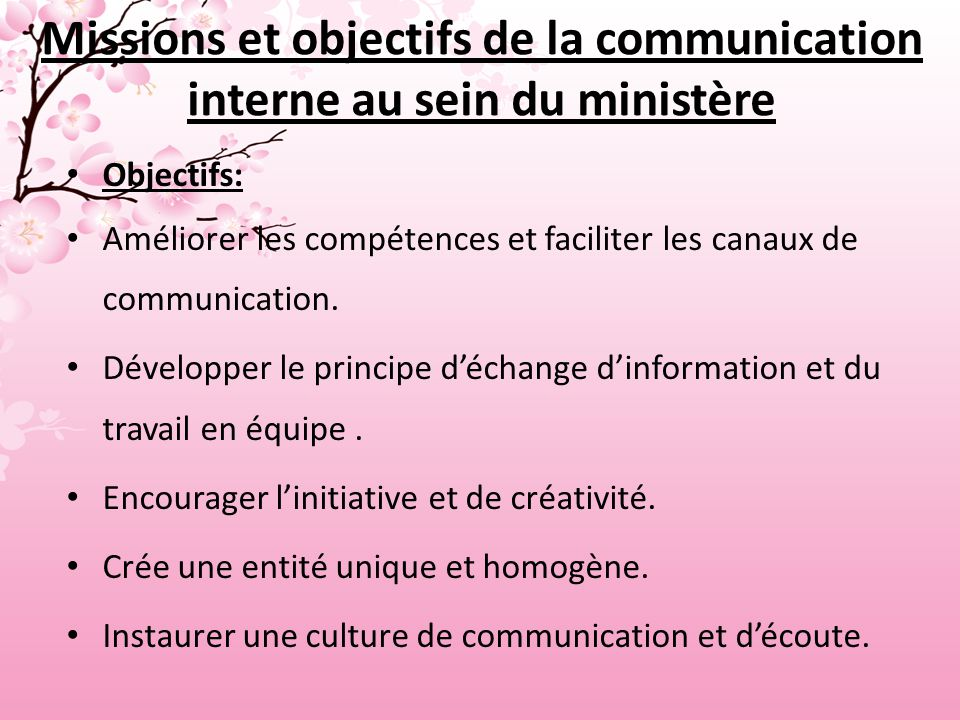 Missions et objectifs de la communication interne au sein du ministère
