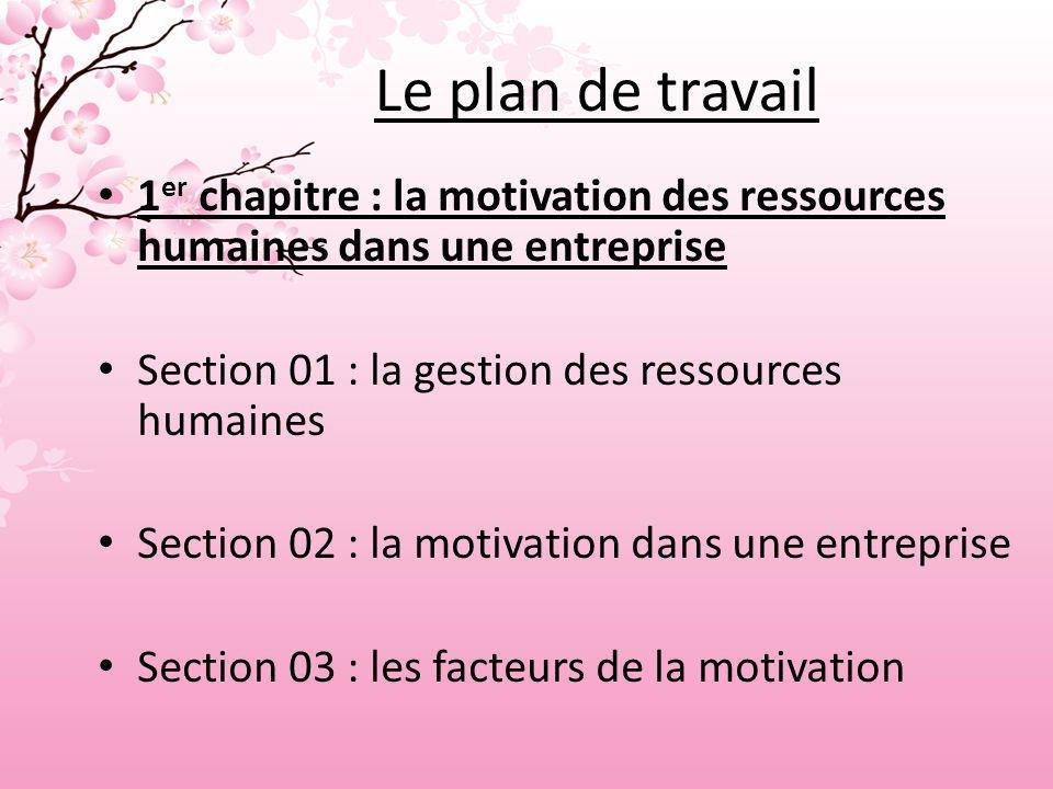 Le plan de travail 1er chapitre : la motivation des ressources humaines dans une entreprise. Section 01 : la gestion des ressources humaines.