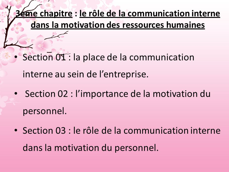 Section 02 : l'importance de la motivation du personnel.