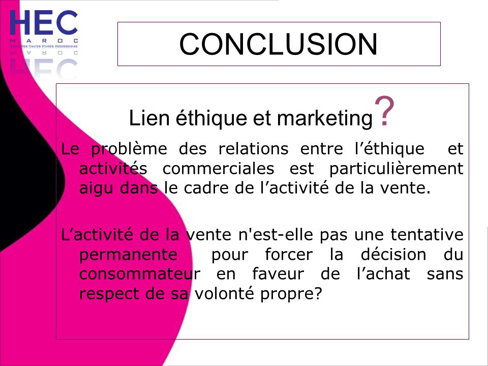 Lien éthique et marketing