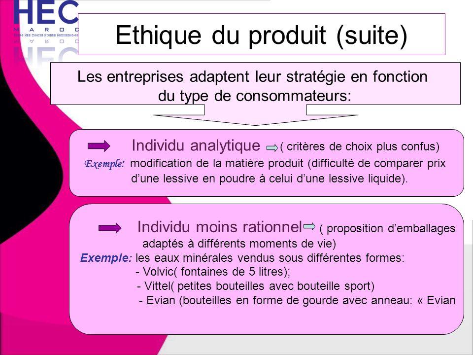 Ethique du produit (suite)