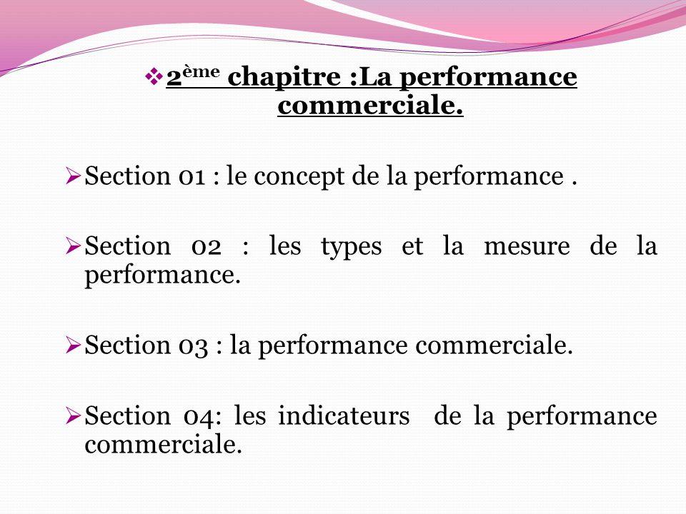 2ème chapitre :La performance commerciale.