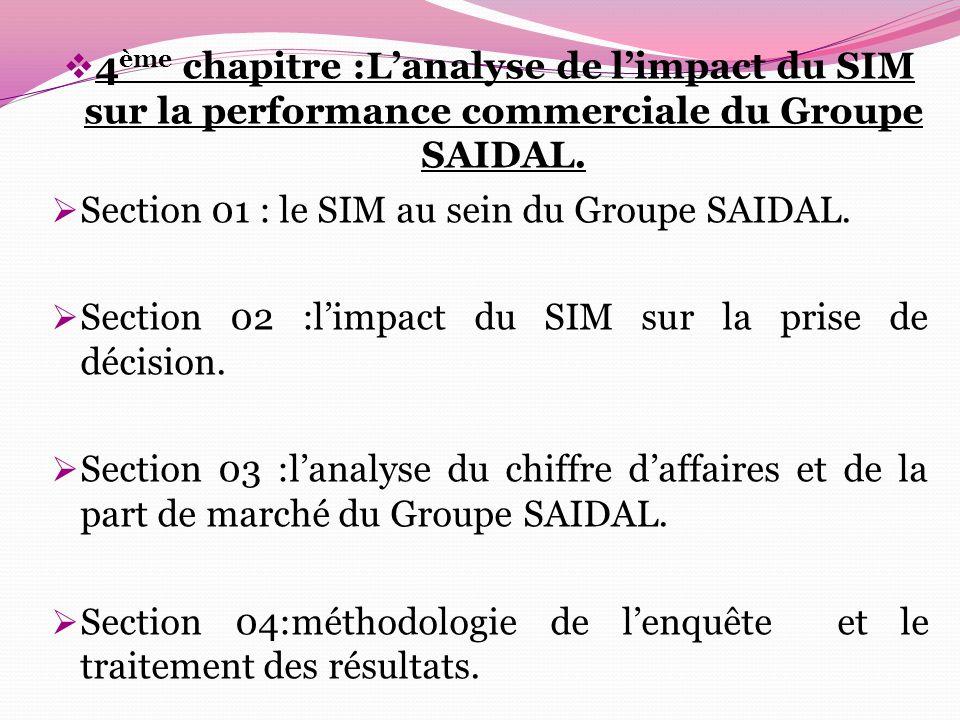 4ème chapitre :L'analyse de l'impact du SIM sur la performance commerciale du Groupe SAIDAL.