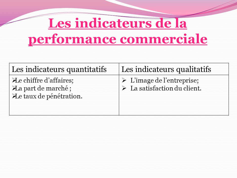 Les indicateurs de la performance commerciale